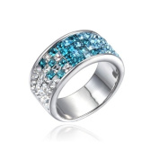 Blue Pearls - Ring. Crystal Elements White and Blue - T7 CRY E400 J Bleu - T52