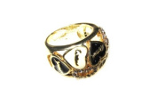 Johnny Loves Rosie Gold Colour Cocktail Ring with Black and Cream Hearts- Size M