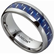 Titanium Ring - Blue Carbon Inlay Mens Titanium Wedding Engagement Band Ring- Size P - Comes In A Luxury Gift Box -