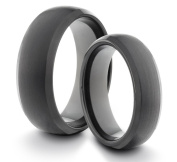 His & Her's 8MM/6MM Tungsten Carbide Black Brushed & Polished Comfort Fit Wedding Band Ring