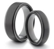 His & Her's 8MM/6MM Tungsten Carbide Black Brushed & Polished Comfort Fit Wedding Band Ring Set