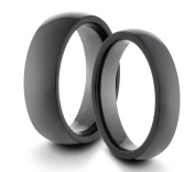 His & Her's 6MM/4MM Tungsten Carbide Polished Black Classic Styled Comfort Fit Wedding Band Ring Set