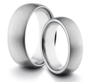 His & Her's 8MM/6MM Tungsten Carbide Classic Styled Brushed Comfort Fit Wedding Band Ring
