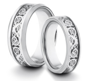 His & Her's 8MM/6MM Tungsten Carbide Polished Comfort Fit Wedding Band Ring w/ Silver Asian Dragon Style Inlay