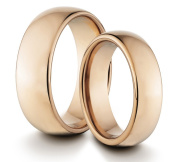 His & Her's 8MM/6MM Tungsten Carbide Polished Rose Gold Classic Styled Comfort Fit Wedding Band Ring Set