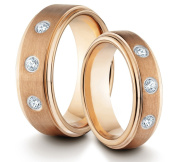 His & Her's 8MM/6MM Tungsten Carbide Brushed & Polished Rose Gold Comfort Fit Wedding Band Ring Set w/ 3 CZ Diamonds