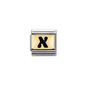 Nomination Composable Classic Black Letter X Stainless Steel and 18K Gold
