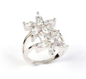 Sterling Silver & Clear Cubic Zirconia Twin Flower Ring