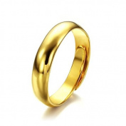 JewelryWe 5mm High Polished Copper Yellow Gold Tone Ladies Adjustable Open Ring Engagement Wedding Band : UK Size - N