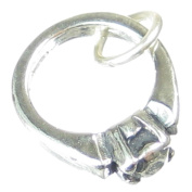 Engagement Ring sterling silver charm .925 x 1 Engaged Wedding charms SSLP1385