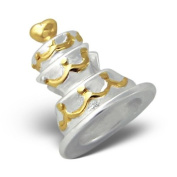 Silvadore - Silver Bead - Wedding Cake Celebration Food Heart Marriage Love Birthday Decorated Swirl - GOLD PLATED - 925 Sterling Charm 3D Slide On 663 - Fits Pandora European Bracelet.