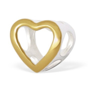 Silvadore - Silver Bead - Heart Open Cut Smooth Ring Hole Shape Romance - GOLD PLATED 2 TONE - 925 Sterling Charm 3D Slide On 612 - Fits Pandora European Bracelet.