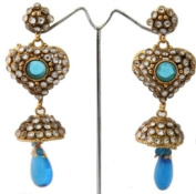 Heart Shaped Blue and White stoned Antique Finish Earrings