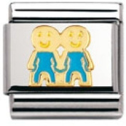 Nomination Composable Classic Fun Brother Stainless Steel, Enamel and 18K Gold