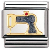 Nomination Composable Classic Daily Life Sewing Machine Stainless Steel, Enamel and 18K Gold