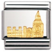 Nomination Composable Classic Relief Monument Big Ben Stainless Steel and 18K Gold