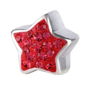 Silverado Star Bling Red Charm Bead Fits Pandora Chamilia Troll and other 3mm Bracelets