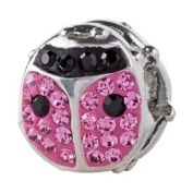 Silverado Ladybird Bling Pink Charm Bead Fits Pandora Chamilia Troll and other 3mm Bracelets