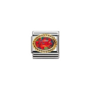 Nomination Composable Women's Bead Classic Knurl 18K Gold Red Opal
