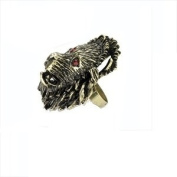 Gold Effectl Lion Ring with Red Diamonte Stone Detail