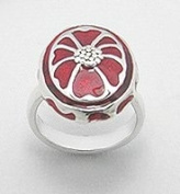 Vintage style 925 Sterling silver red enamel oval ring Size N / 7 US