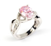 Sterling Silver Oval Pink & Clear Cubic Zirconia Dress Ring With Crossover Shoulders in Size (N) Only