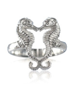 Aquamarine Jewellery Sterling Silver Seahorse Ring Gift Boxed