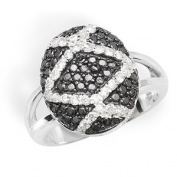 Sterling Silver Cubic Zirconia Rings S/S BLACK & WHITE C/Z RING