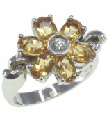 Citrine Flower Sterling Silver Ring size P