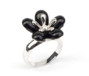 Sterling Silver Synthetic Black & Cubic Zirconia Flower Ring in Size (N) Only
