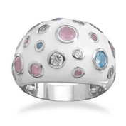 Sterling Silver Domed White Enamel Ring With Blue Pink and Clear Multisize Glass Circles