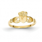 14ct Polished Ladies Claddagh Ring - Size L 1/2 - JewelryWeb
