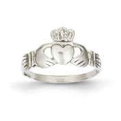 14ct White Gold Ladies Claddagh Ring - Size N 1/2 - JewelryWeb
