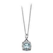Aquamarine And Diamond (0.016ct) Set Pendant In 9ct White Gold, Supplied Complete With A16-46cm Necklace.