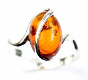 Lovely Baltic Amber & 925 Sterling Silver Designer Ring GL477A