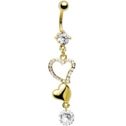Gold Plated CZ Double Heart Solitaire Belly Ring
