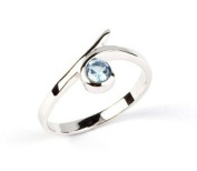 Sterling Silver Rubover Light Blue Cubic Zirconia Ring