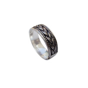 Hand Made Circular Carved Flat Ring in 925 Sterling Silver