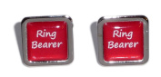 Ring Bearer Red Square Wedding Cufflinks.