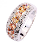 Yazilind Women's Ring with Round Cut Pink Morganite White Topaz Gemstone Silver UK Size S Christmas Gift Wedding Party