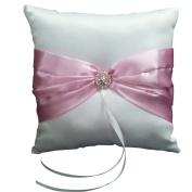 Wedding Ceremony White Satin Ring Pillow Cushion---Pink Ribbon & Diamante Decor