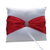 Wedding Ceremony White Satin Ring Bearer Pillow Cushion Red Ribbon & Diamante Decor