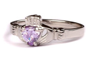 CELTIC SILVER CLADDAGH WITH ALEXANDRITE(LIGHT AMETHYST)JUNE MONTH BIRTHSTONE RING