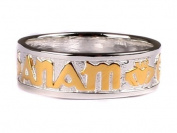 Celtic Irish Mo Anam Cara My Soul Mate Silver with Claddagh Design Goldplated Gents ring