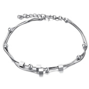 bigsoho White Gold Plated Silver Spacer Beads/Cubes Adjustable Dual Snake Foot Chains Men/Women Anklet Bracelet