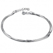 bigsoho White Gold Plated Three Snake Chains Silver Adjustable Simple Foot Chain Men/Women Anklet Bracelet