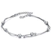 bigsoho White Gold Plated Silver Spacer Beads Adjustable Dual Snake Foot Chains Men/Women Anklet Bracelet