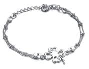 bigsoho Lucky four-leaf Clover Pendant White Gold Plated Adjustable Fashion Foot Chain Girls/Women Anklet Bracelet