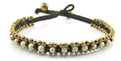 MGD, White Howlite with Golden Beads and Brass Bell Anklet. Beautiful Handmade Gemstone Ankle Bracelet Made From Wax Cord. Fashion Jewellery for Women, Teens and Girls, JB-0184A