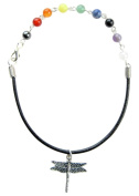 ~9 CHAKRA LEATHER~ HANDCRAFTED ANKLET ANKLE BRACELET ANKLE CHAIN 25cm